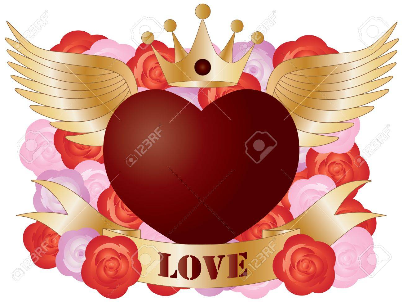 Flying Red Heart with Banner and Roses Illustration Stock Vector - 13370033