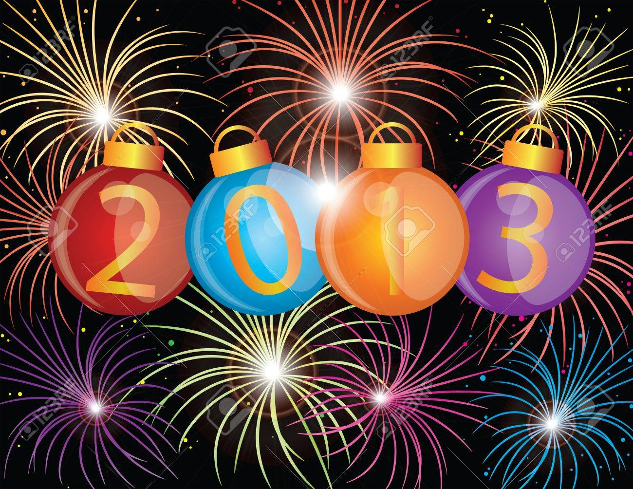 2013 Happy New Year Christmas Ornaments with Fireworks Display Background Illustration Stock Illustration - 13539226