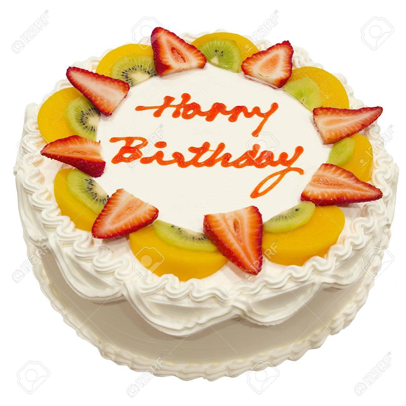 Enjoyable Happy Birthday Fresh Fruit Cake Isolated On White Background Stock Personalised Birthday Cards Veneteletsinfo