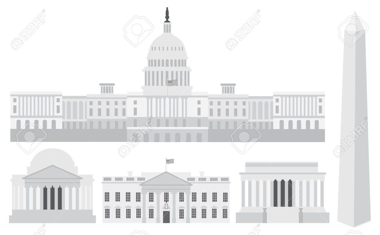Washington DC US Capitol Building Monument Jefferson and Lincoln Memorial Illustration Stock Vector - 13642774