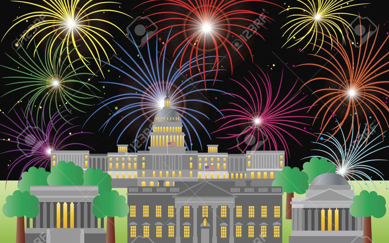 Washington DC US Capitol Building Monument Jefferson and Lincoln Memorial with Fireworks Illustration Stock Vector - 13697771