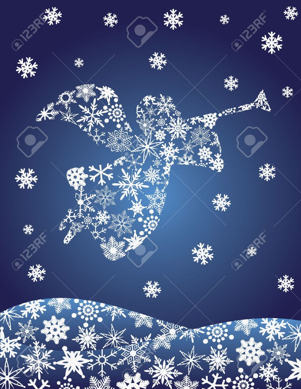 Christmas Angel With Trumpet Silhouette With Snowflakes ...
