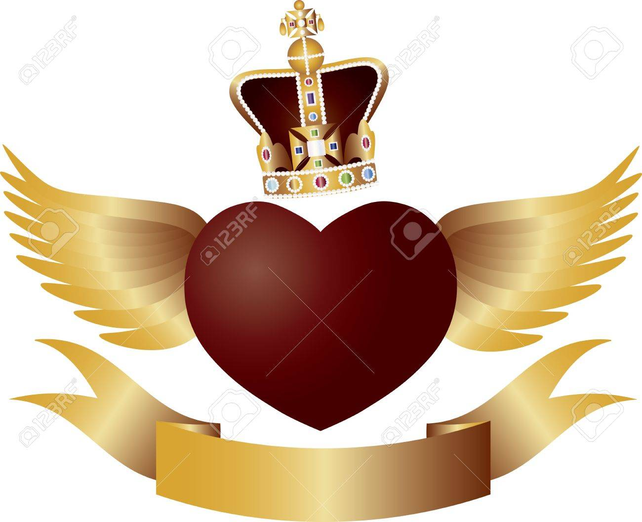 Flying Red Heart with Crown Jewels Wings and Banner Illustration Stock Vector - 13977886