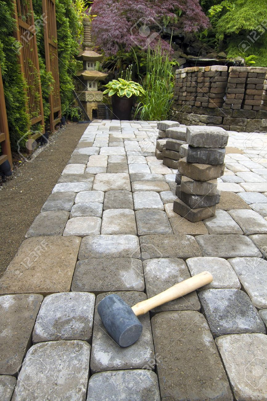 Patio Pavers. Laying Garden Cement Pavers Patio For Backyard Hardscape  Landscaping Stock Photo   14192675