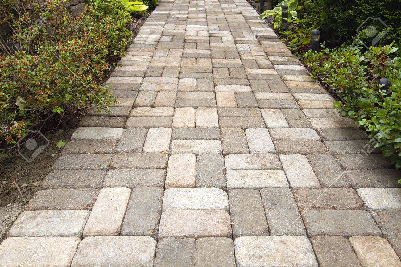 Basket weave brick pattern - Garden Brick Pavers Path Walkway With Basket Weave Pattern Stock Photo 14297772