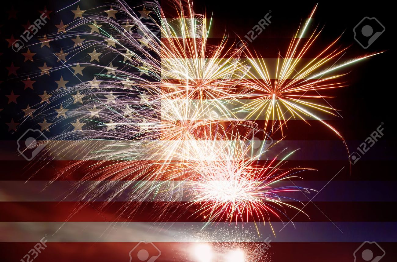 stock photo united states of america usa flag with fireworks background for 4th of july