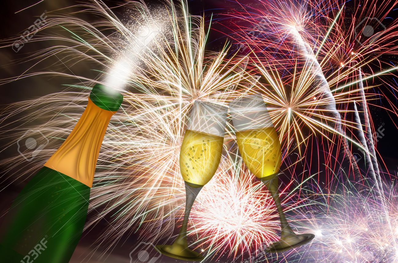 Image result for photos with fireworks champagne balloons celebration