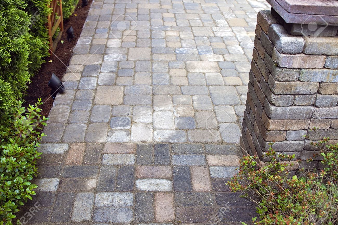 Backyard Garden Landscaping Hardscape With Cement Pavers Patio Stock Photo    14412728