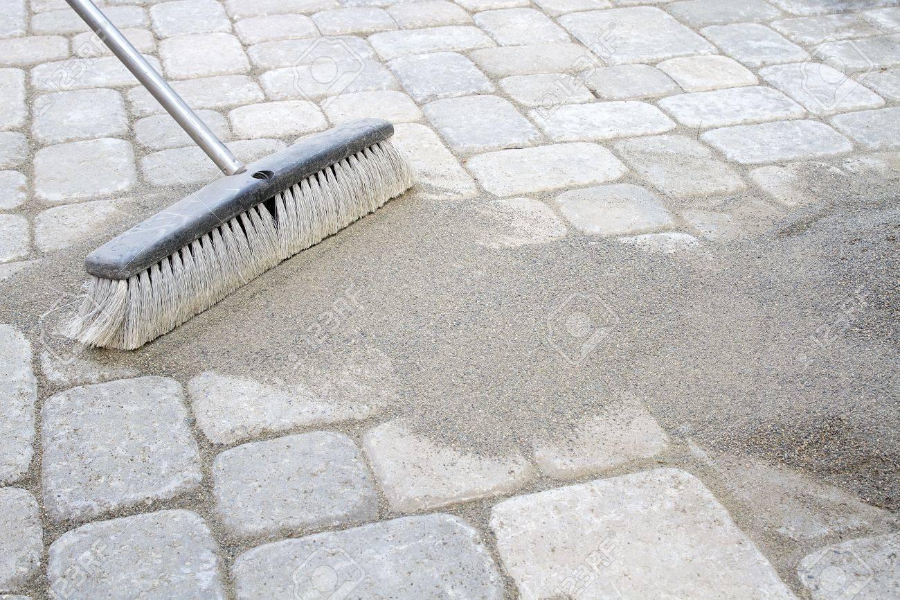 banque dimages sable broom verrouillage balayage dans pavs terrasse arrire