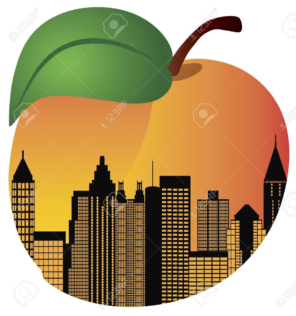 Atlanta Georgia City Skyline Night Silhouette Inside Peach Fruit Illustration Stock Vector - 14461406