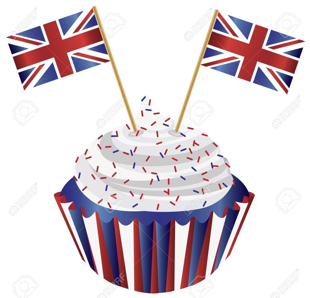 United Kingdom England Cupcake with Jack Union Flags Illustration Stock Vector - 15035864