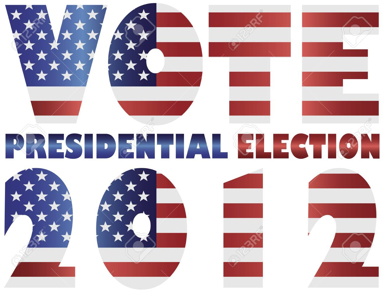 Vote 2012 Presidential Election with American USA Flag Silhouette Illustration Stock Vector - 15035877