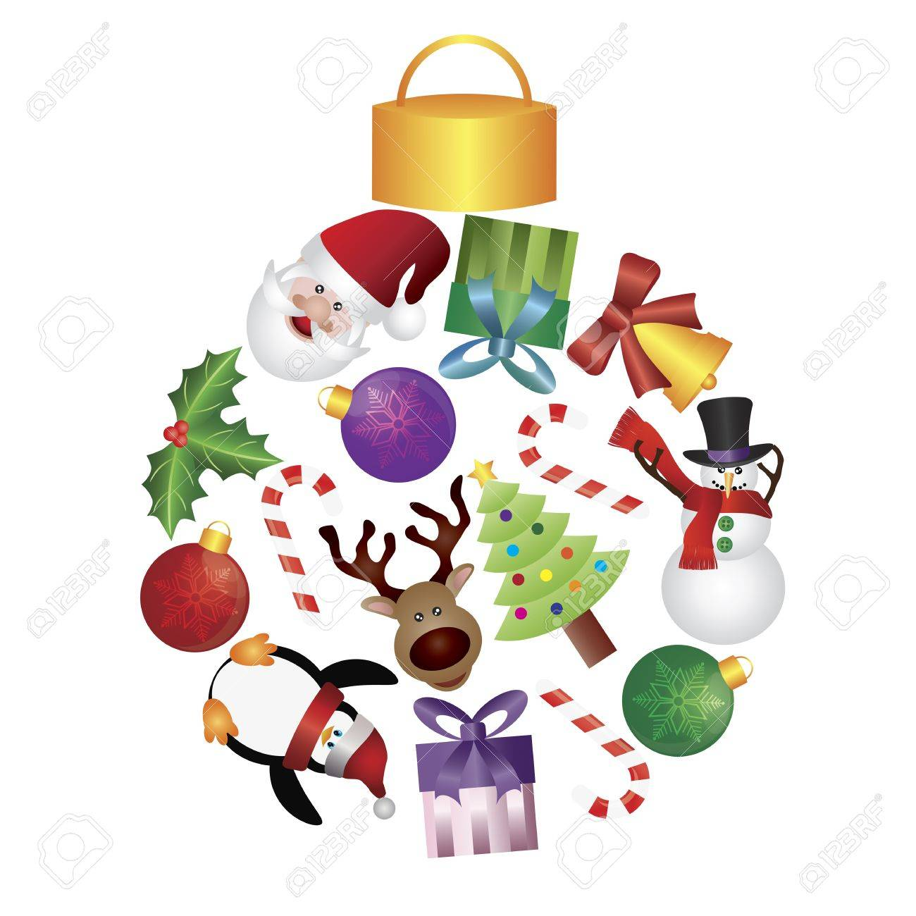 Christmas Tree Ornaments Collage With Santa Reindeer Penguin Royalty Free Cliparts Vectors And Stock Illustration Image 15873519