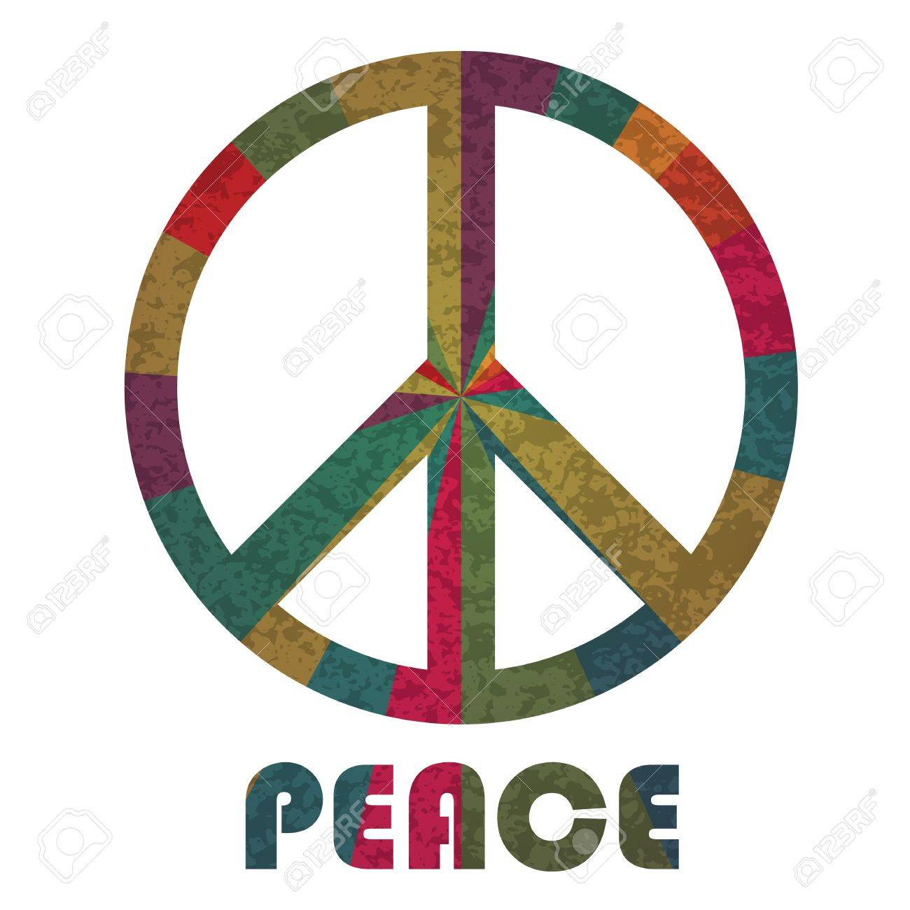 Peace Symbol And Text Silhouette With Rays Pattern Isolated On
