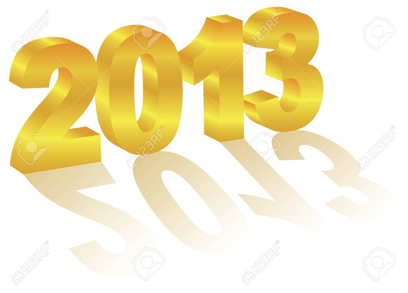 2013 Happy New Year 3D Gold Numbers with Long Shadows Isolated on White Background Stock Vector - 15940101