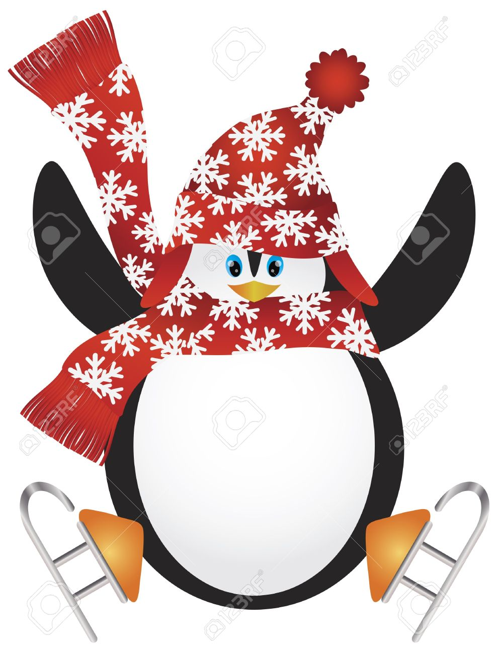 Christmas Penguin with Santa Hat and Scarf Ice Skating Doing the Split Jump Illustration Stock Vector - 16008396