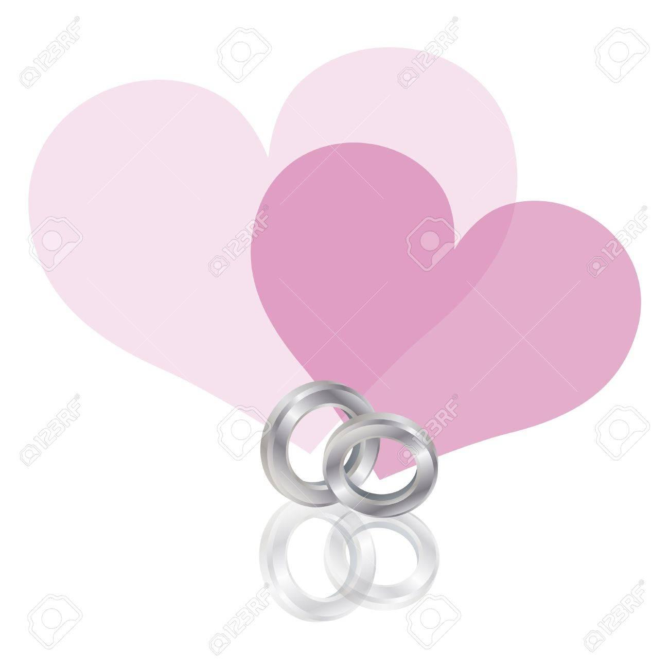 Band Platinum Wedding Rings Avec Des Coeurs Couple Rose Isolé Sur ...