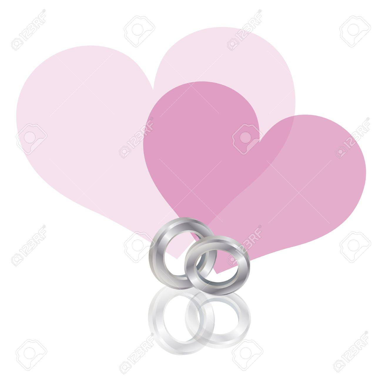 Wedding Rings Platinum Band With Couple Pink Hearts Isolated ...