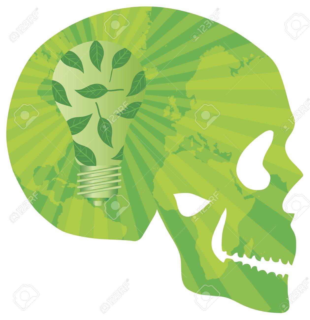 Think Green Skull with Lightbulb Green Leaves and World Map in Silhouette Illustration Stock Vector - 16104368