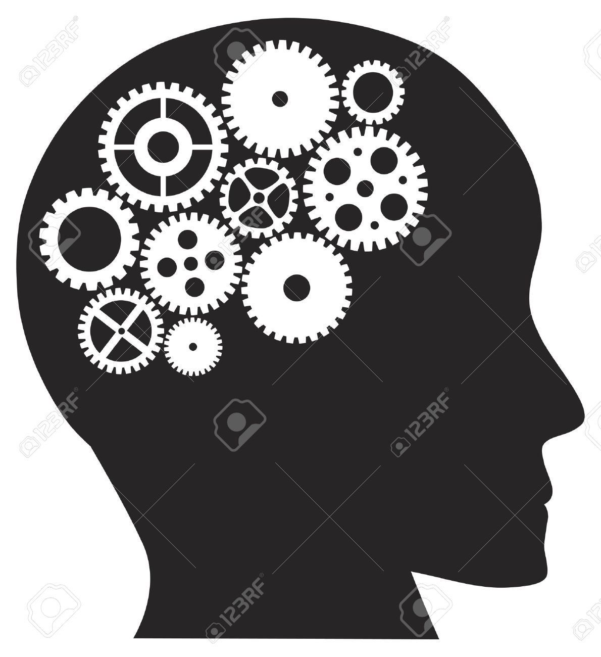 Human Head Silhouette with Metal Mechanical Gears Illustration Isolated on White Background Stock Vector - 16221422