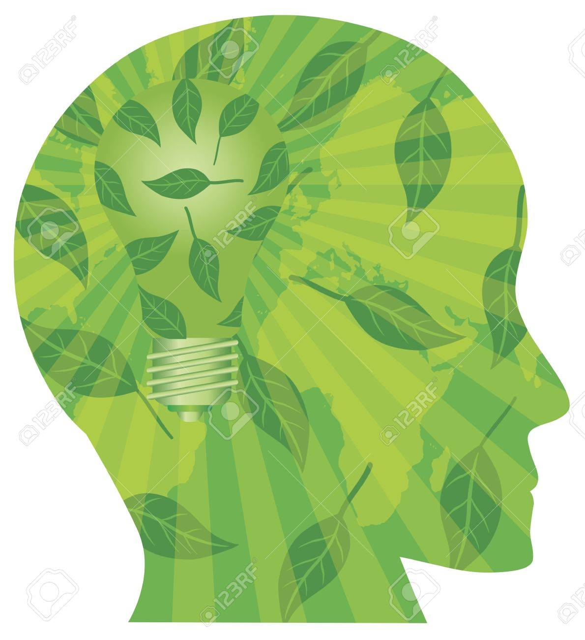 Human Head Silhouette with Light Bulb Go Green Leaves and World Map Illustration Isolated on White Background Stock Vector - 16221430