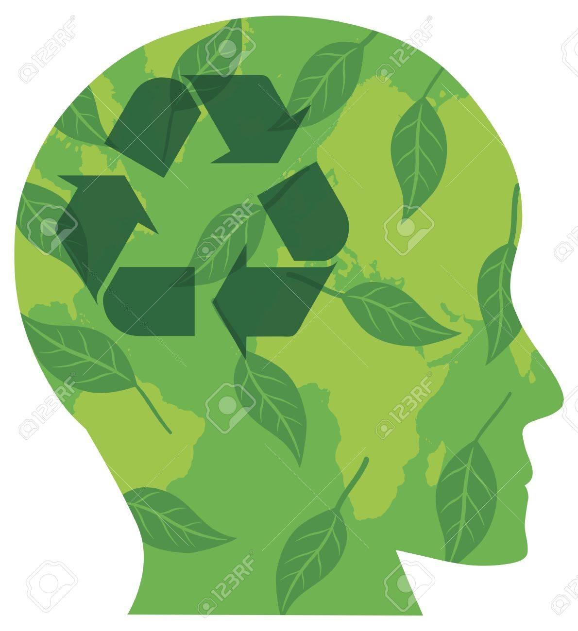 Silueta Cabeza Humana Con Símbolo De Reciclaje Ir Hojas Verdes Y Del ...
