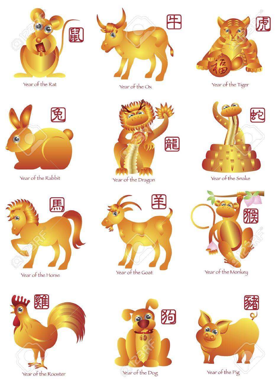 Chinese New Year Twelve Zodiac Horoscope Animals Illustration ...