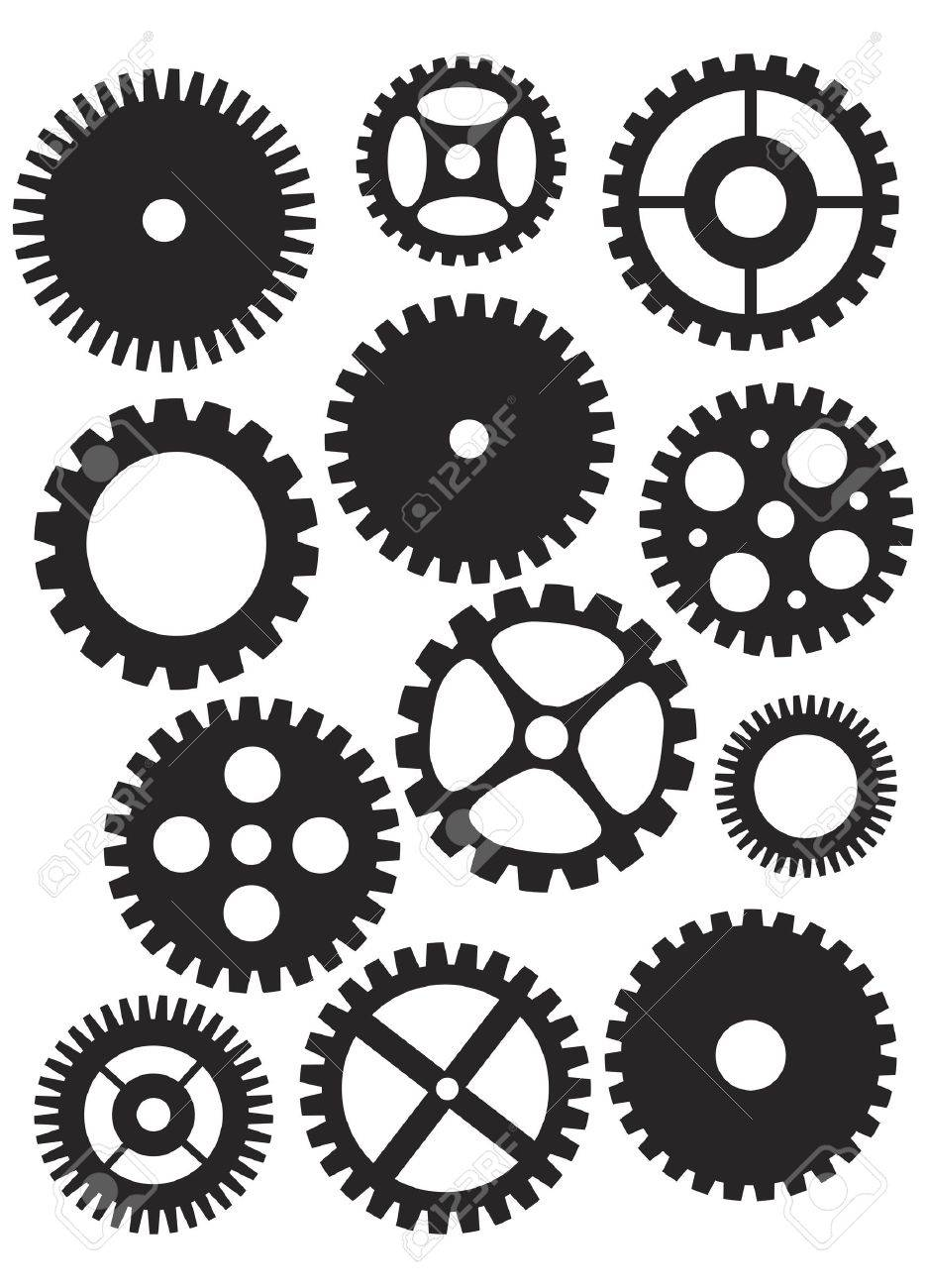 Mechanical Gears or Pulleys of Various Shapes Designs and Sizes Black and White Illustration Isolated on White Background Stock Vector - 16295117