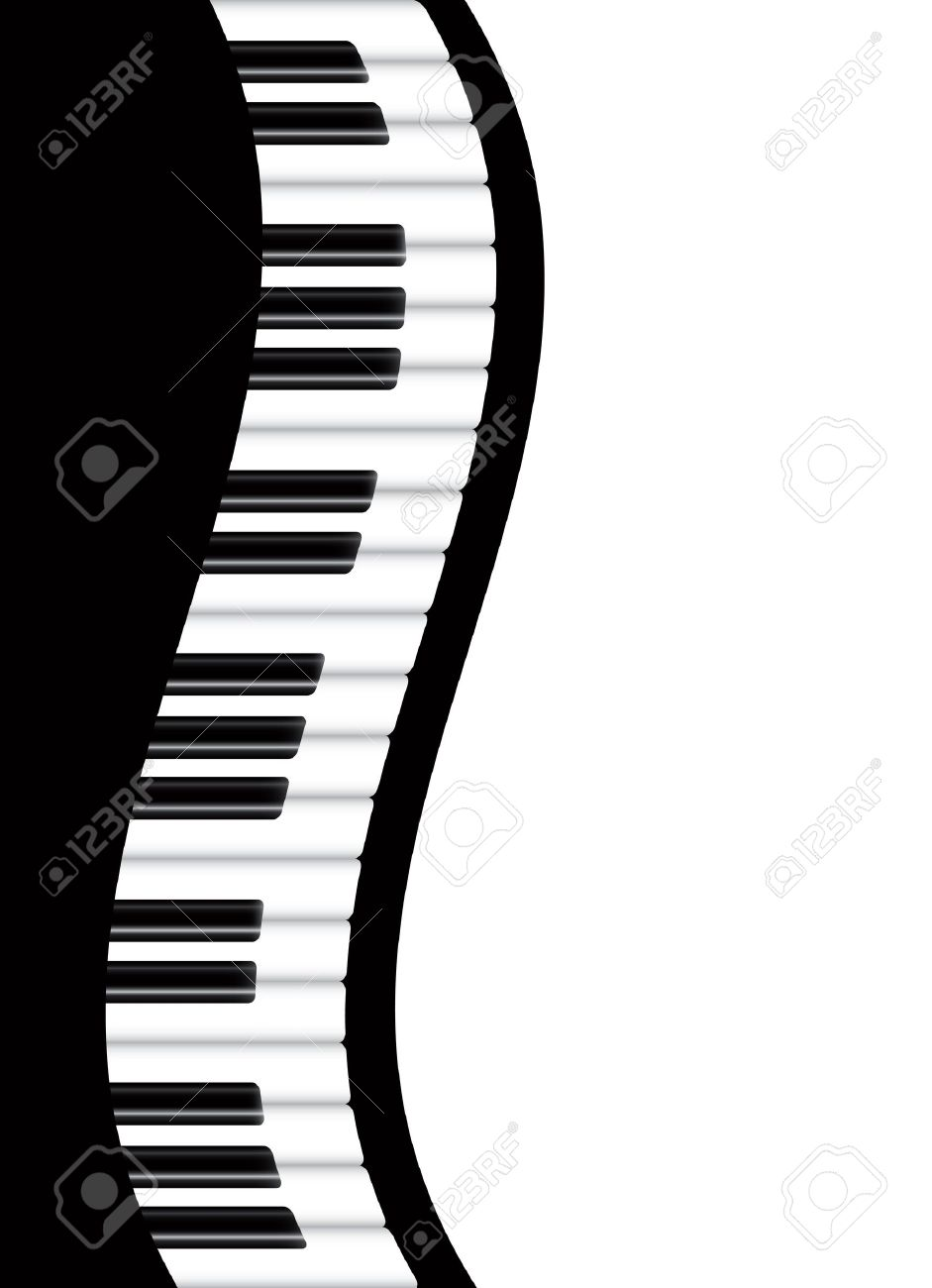 Piano Keyboards Wavy Border Background Illustration Stock Vector - 16459628