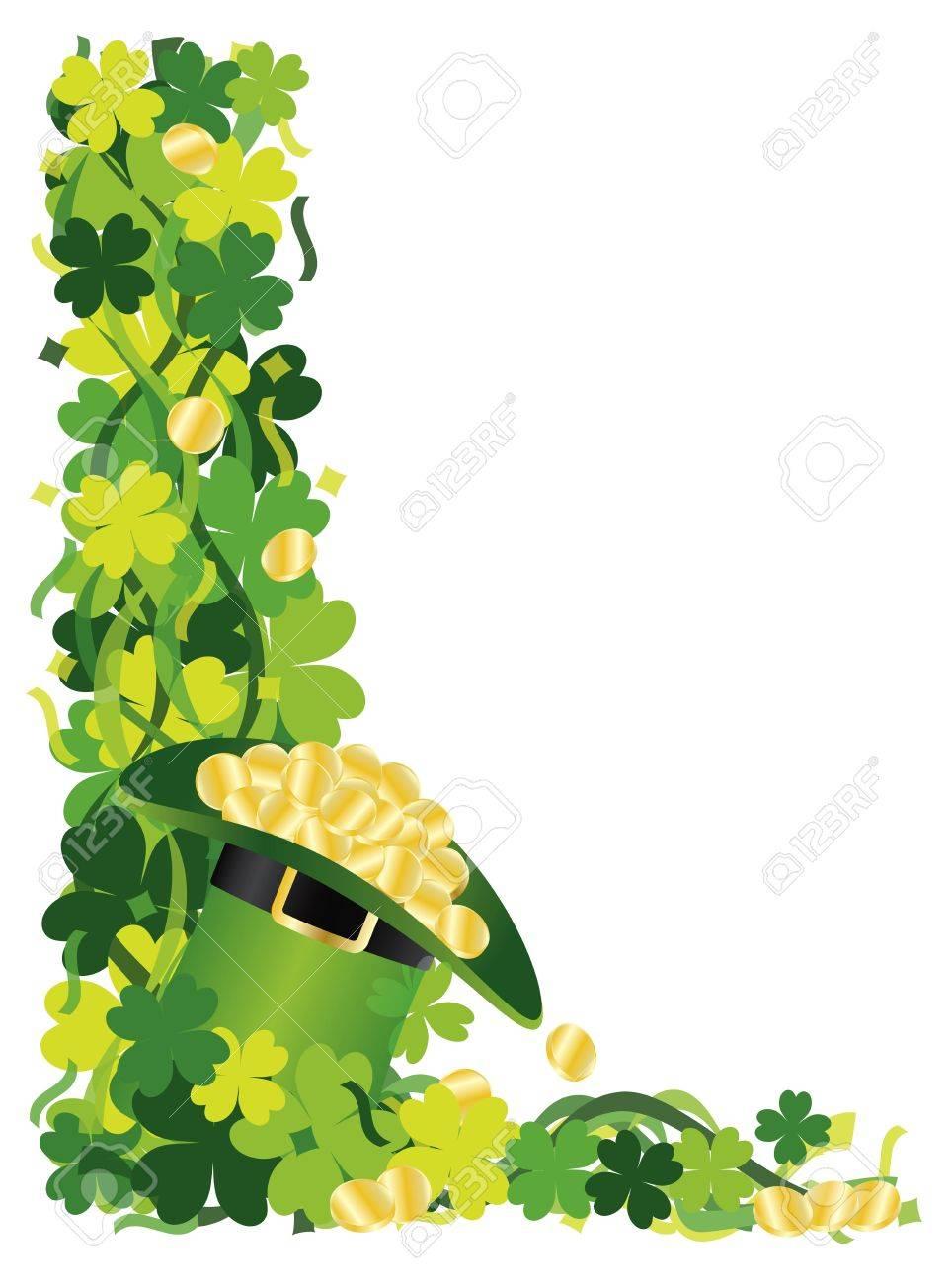 st patricks day irish lucky four leaf clover with leprechaun