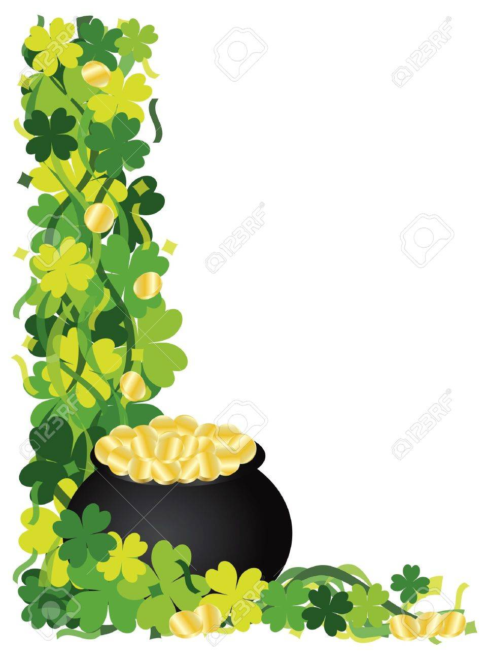 St Patricks Day Irish Lucky Four Leaf Clover with Pot of Gold and Confetti Border Illustration Stock Vector - 16640658