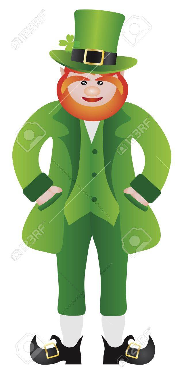 St Patricks Day Irish Leprechaun Standing with Hands in Pocket Illustration Isolated on White Background Stock Vector - 16556640