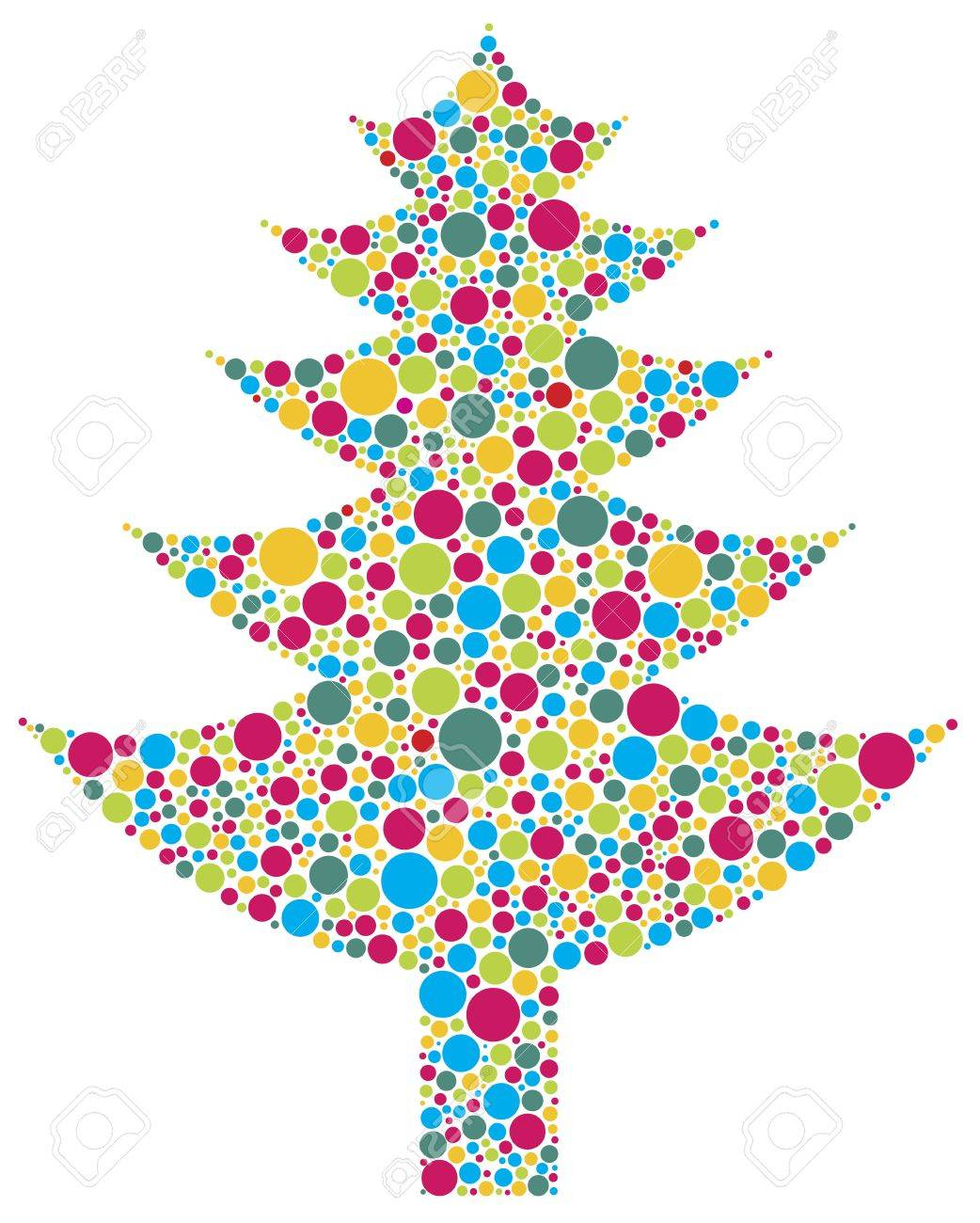 Christmas Tree Silhouette with Bright Colorful Polka Dots Pattern Illustration Isolated on White Background Stock Vector - 16604607