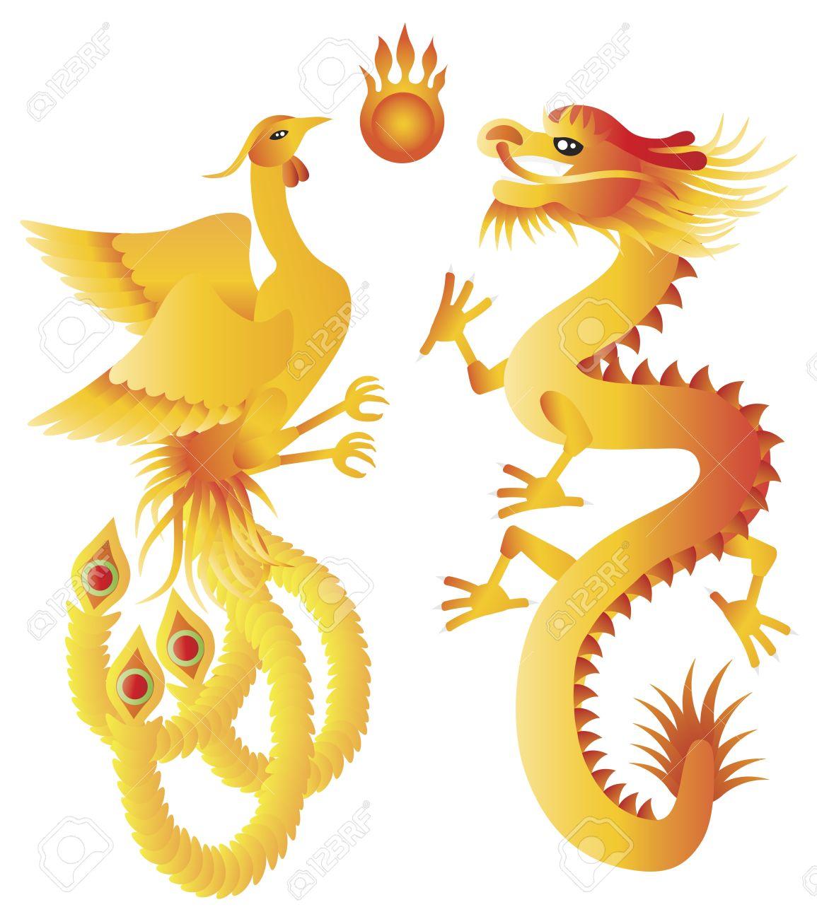 Dragon and phoenix symbols for chinese wedding with flaming dragon and phoenix symbols for chinese wedding with flaming ball illustration isolated on white background stock buycottarizona Gallery