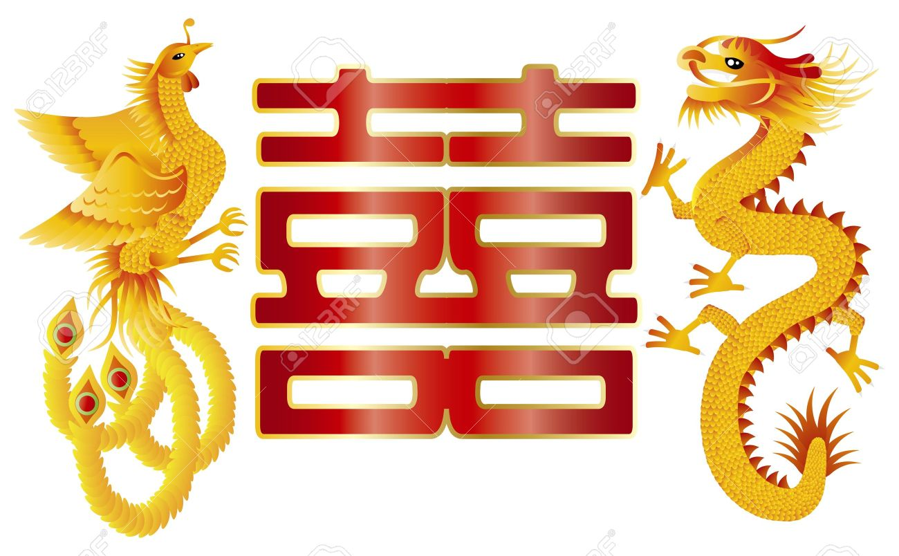 Dragon and Phoenix Symbols for Chinese Wedding with Double Happiness Text Calligraphy Illustration - 16766336