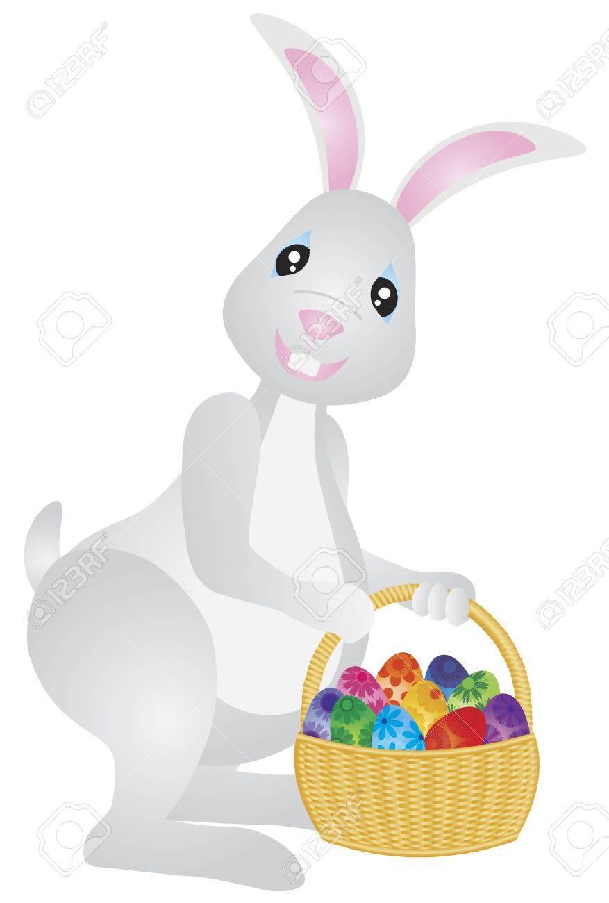 Feliz día de Pascua del conejo de conejito con la cesta de huevos  ilustración colorida aislada en el fondo blanco