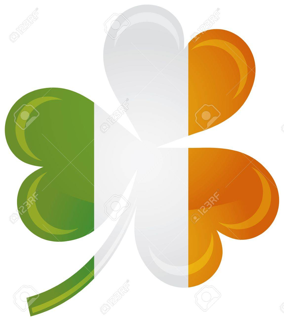 Ireland Flag with Shamrock Silhouette Isolated on White Background Illustration Stock Vector - 16917080