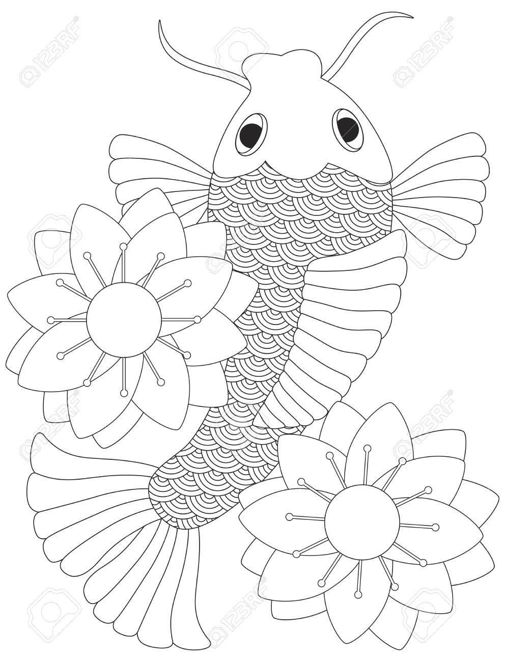 Japanese koi fish or chinese carp with lotus flower line art japanese koi fish or chinese carp with lotus flower line art illustration isolated on white background izmirmasajfo