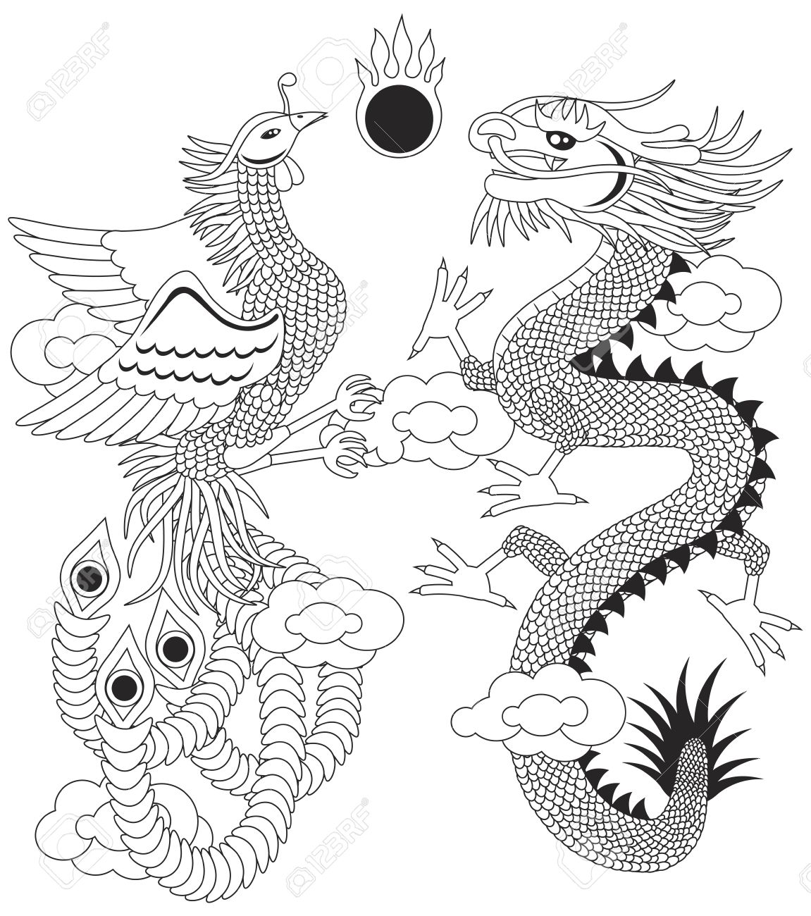 Dragon and Phoenix Symbols for Chinese Wedding with Flaming Ball Clouds Outline Illustration Isolated on White Background Stock Vector - 16987726