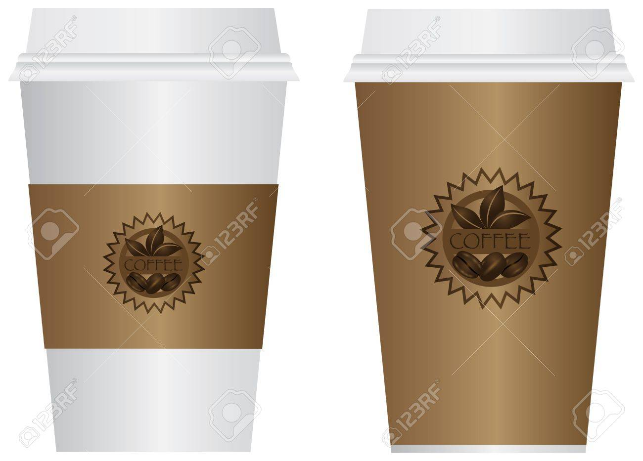 Hot Coffee Disposable To Go Cups with Sleeve Lids and Label Isolated on White Background Illustration Stock Vector - 17114843