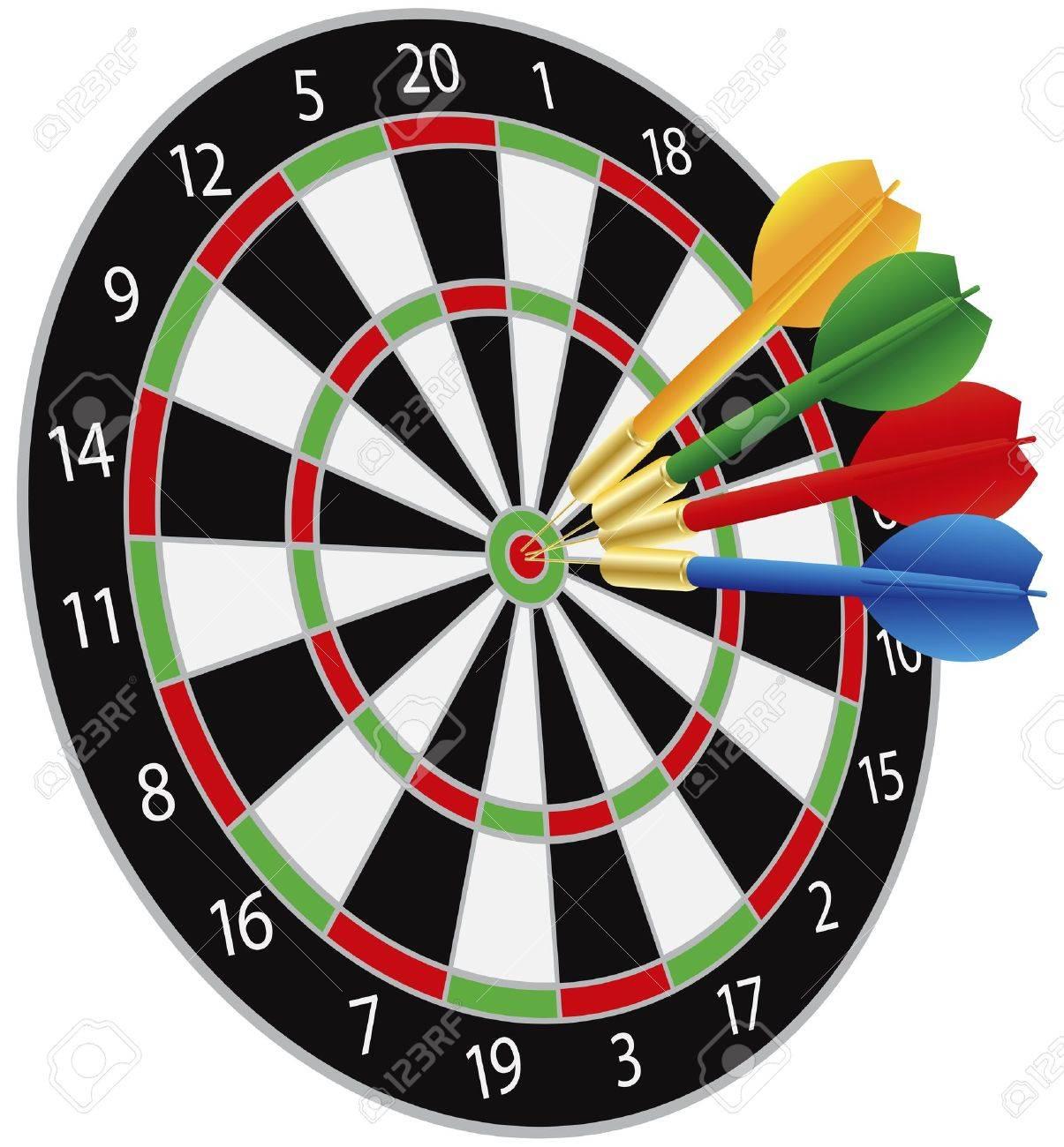 dartboard with darts hitting on target bullseye illustration