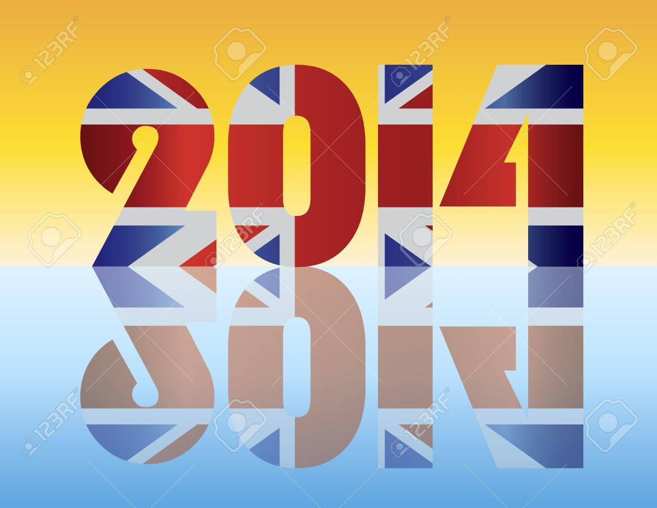 Happy New Year London England 2014 SIlhouette with Union Jack Flag Illustration Stock Vector - 17324492