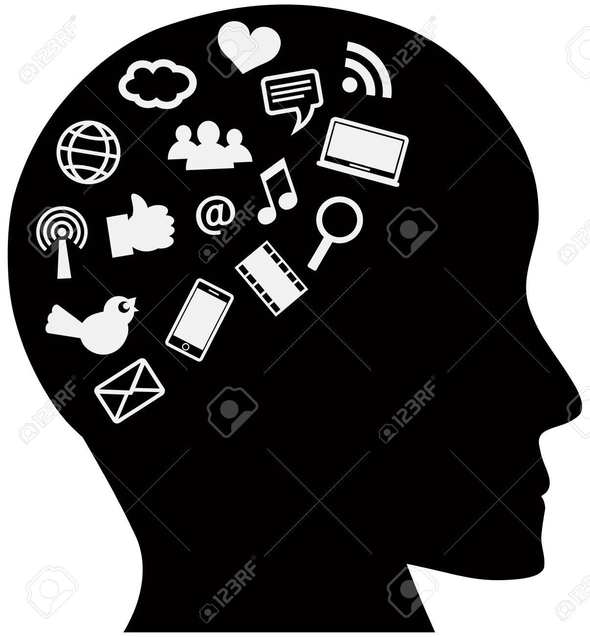 Human Head Silhouette with Social Media Internet Icons Illustration Isolated on White Background Stock Vector - 17360674