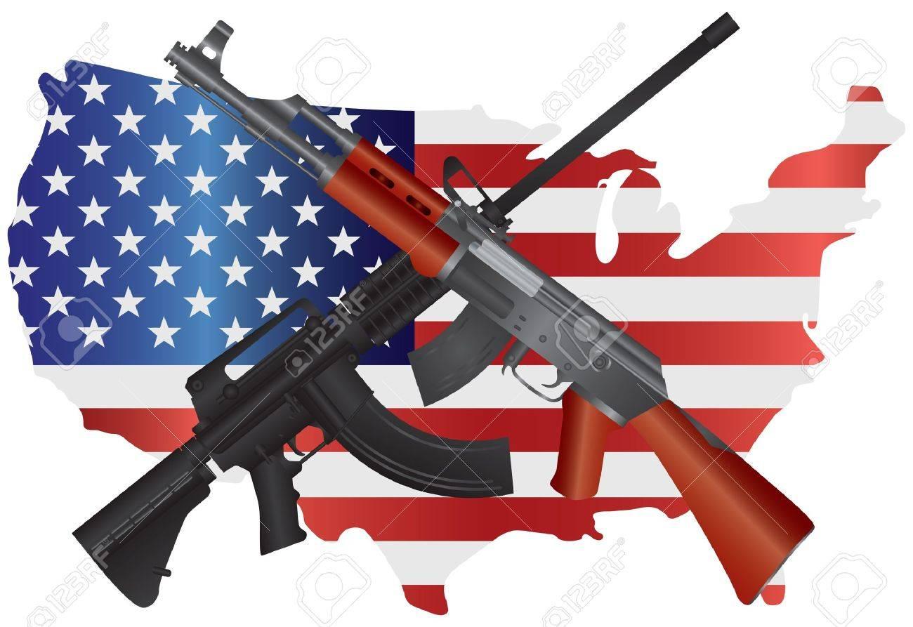 突撃ライフル ar 15 米国地図フラグ 2 番目の改正の構成図に ak 47