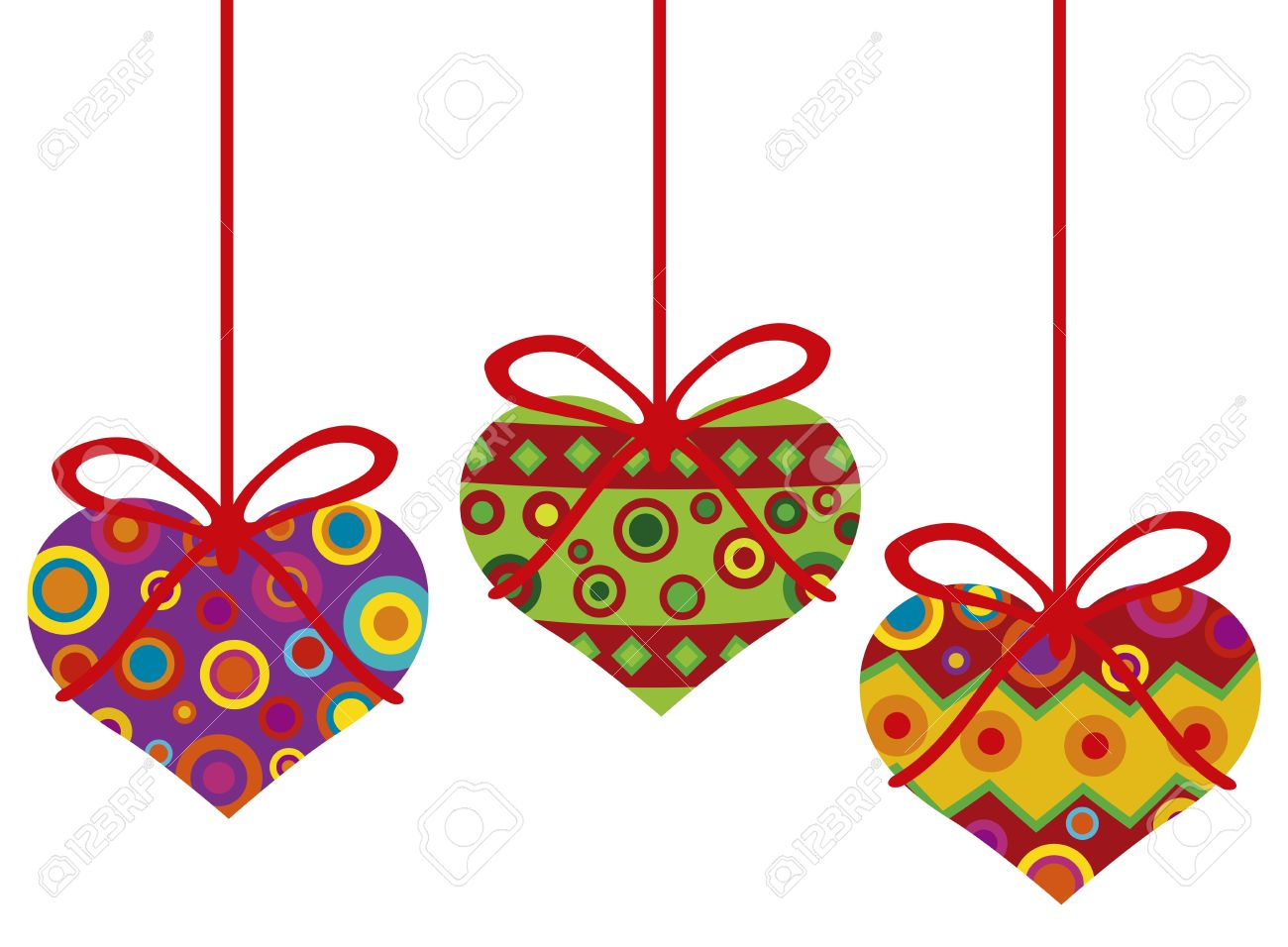 Happy Valentines Day Hanging Heart Shape Christmas Tree Ornaments