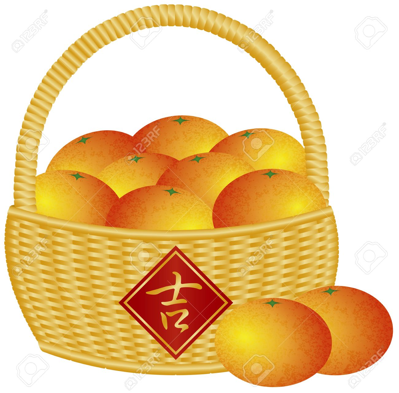 Chinese New Year Basket Of Mandarin Oranges With Good Fortune