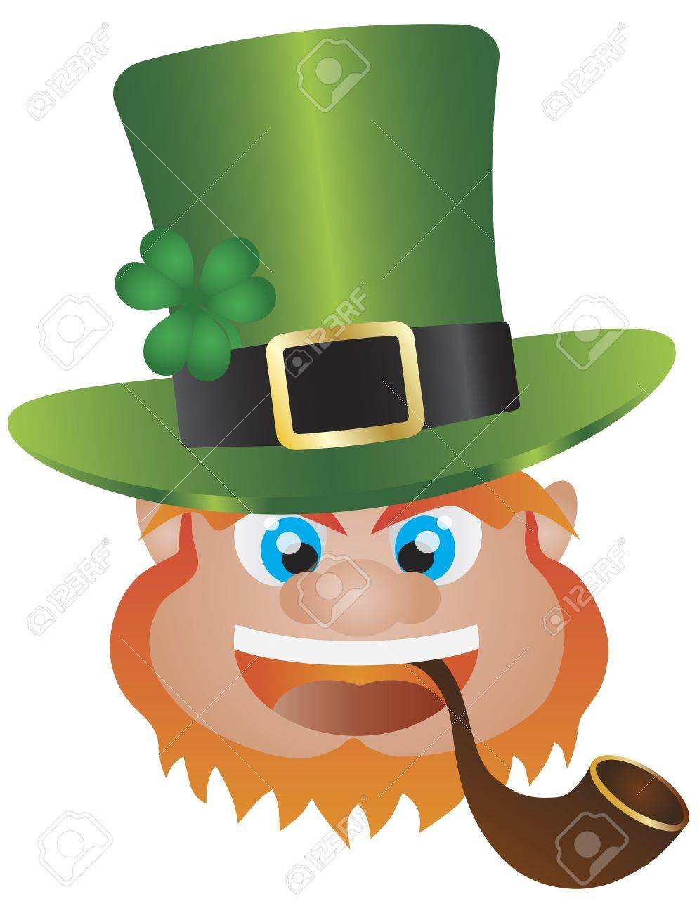 St Patricks Day Irish Leprechaun Head with Hat and Smoking Pipe Isolated on White Background Illustration Stock Vector - 17844518
