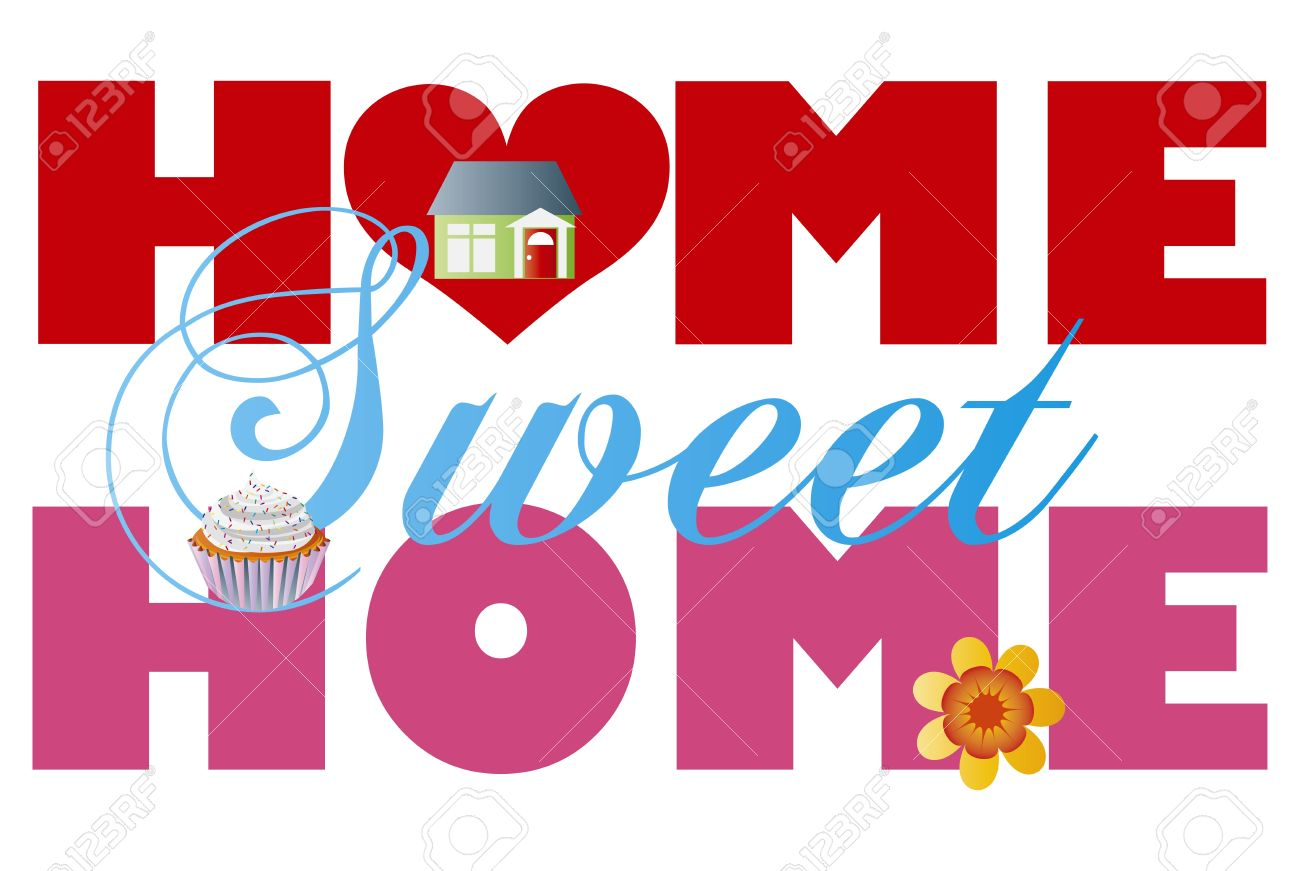 home sweet home alphabet letters with house cupcake and flower rh 123rf com home sweet home sign clipart home sweet home clipart pictures
