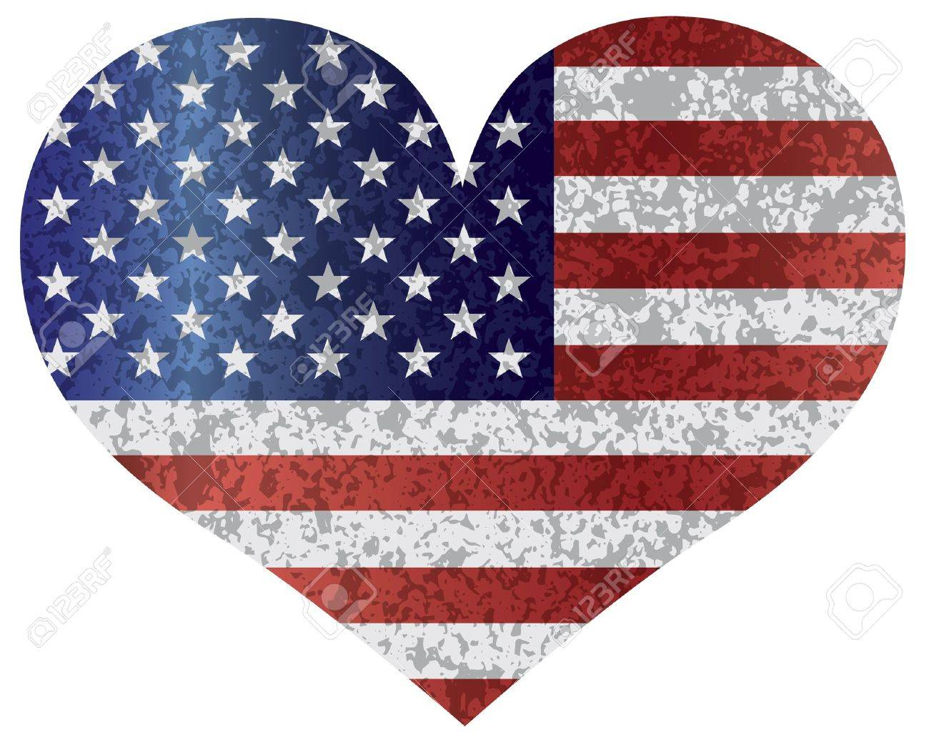 fourth of july usa flag in heart shape with texture illustration rh 123rf com Patriotic Heart Vector Food Heart Vector