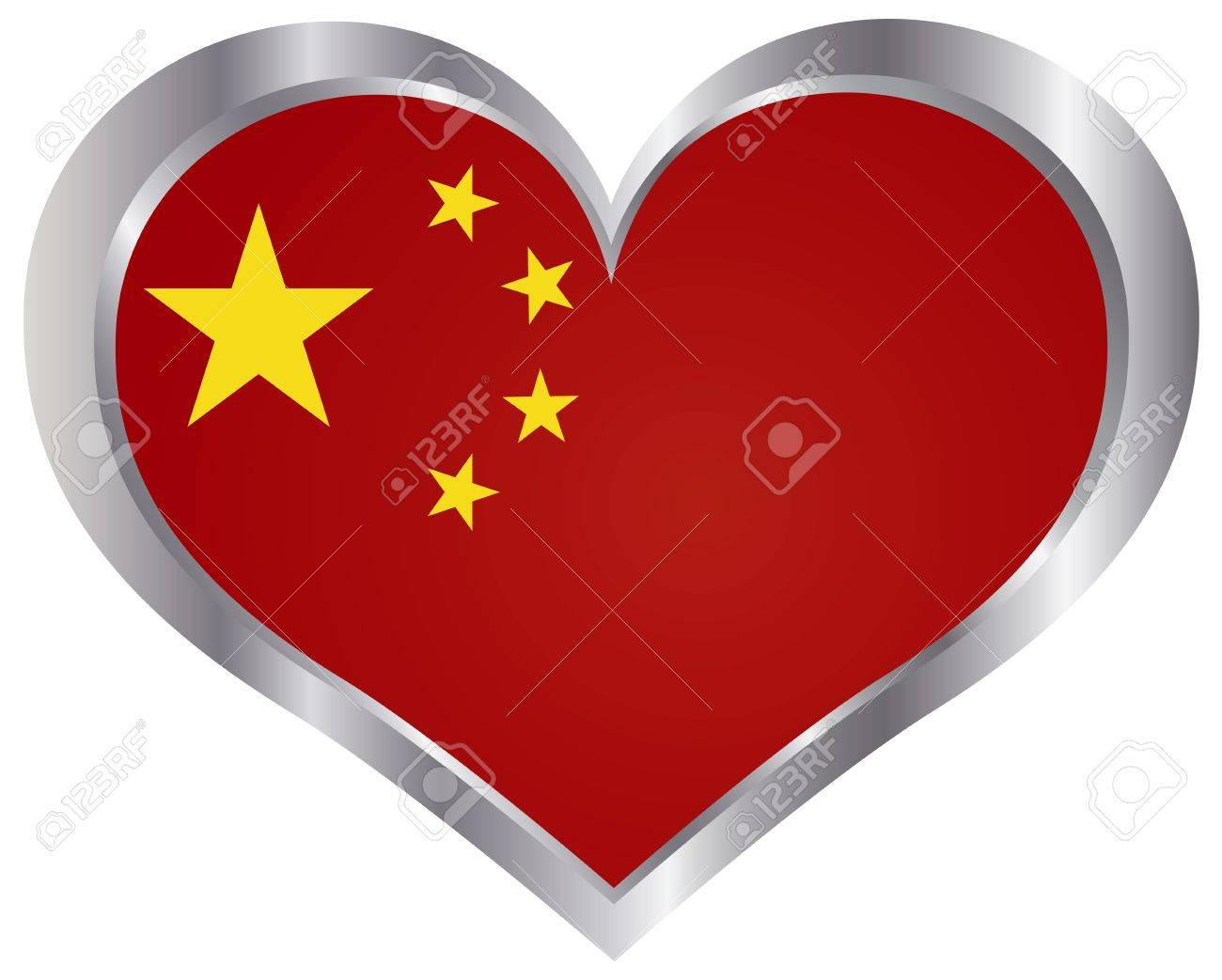 Peoples Republic of China Flag in Heart Shape Silhouette Metal Frame Background Illustration Stock Vector - 19293386